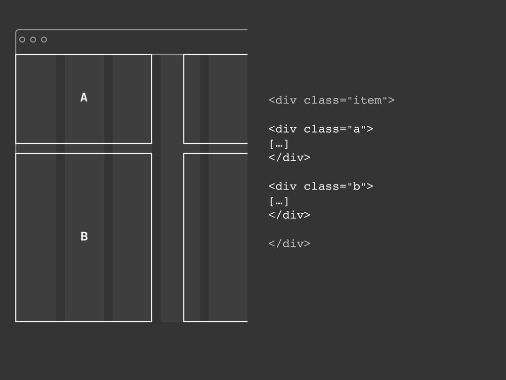 """A B <div class=""""item""""> <div class=""""a""""> […] </di..."""