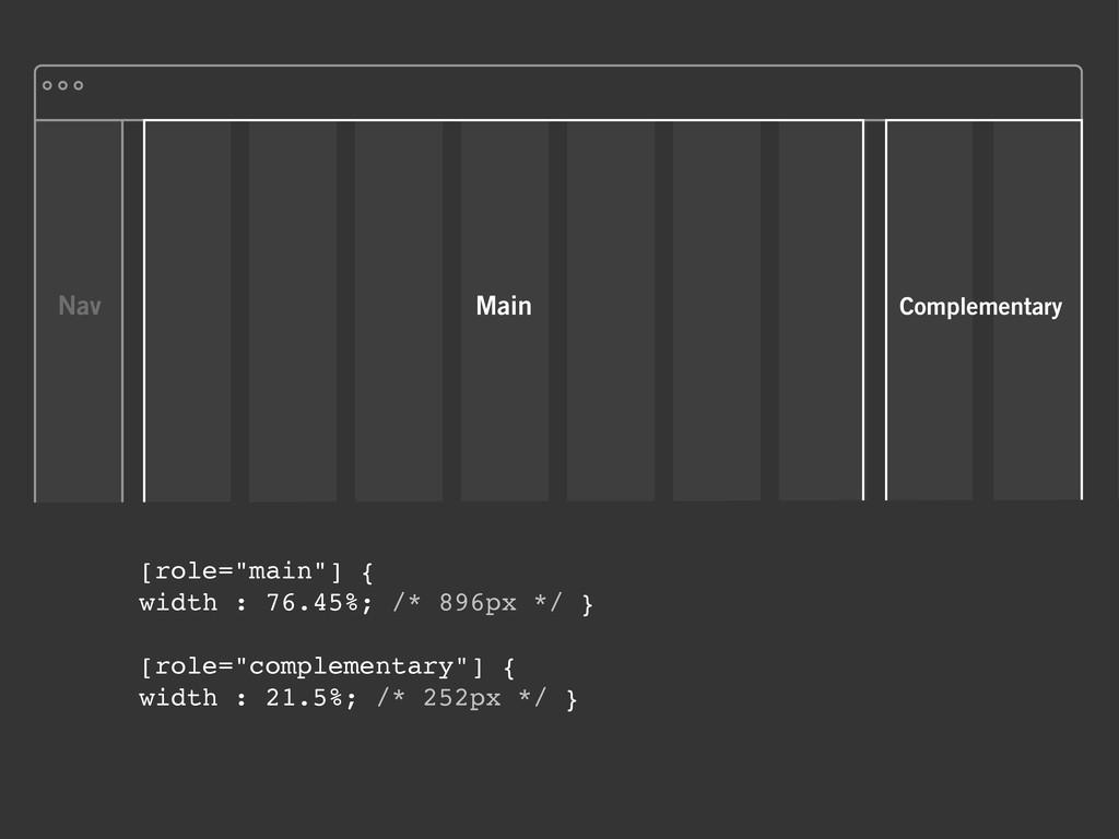 "Nav [role=""main""] { width : 76.45%; /* 896px */..."