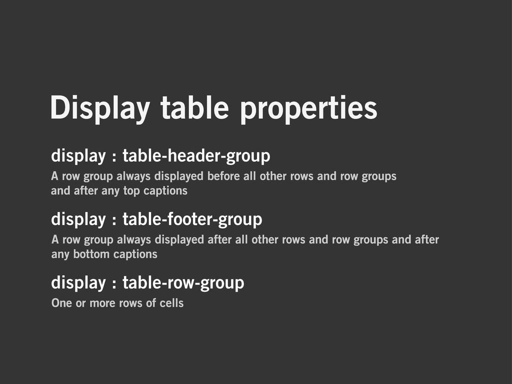 Display table properties display : table-header...