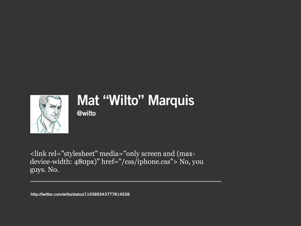 "Mat ""Wilto"" Marquis <link rel=""stylesheet"" medi..."