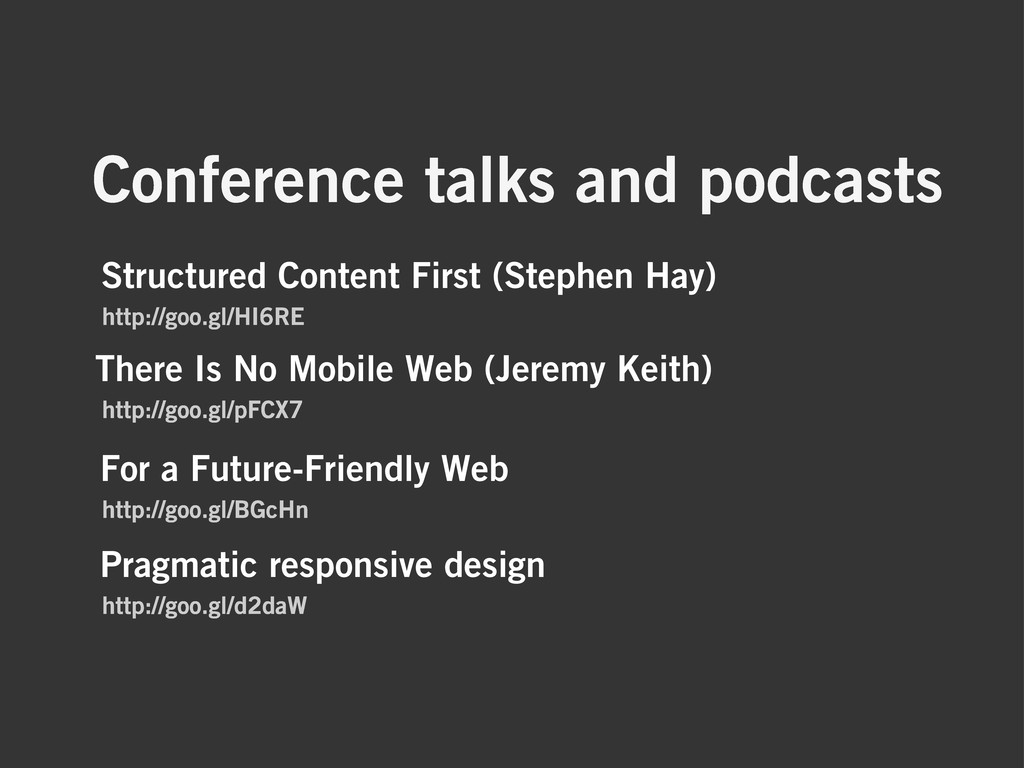 Conference talks and podcasts There Is No Mobil...