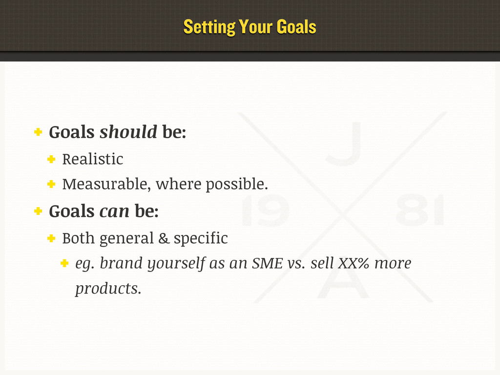 Setting Your Goals Goals should be: Realistic M...