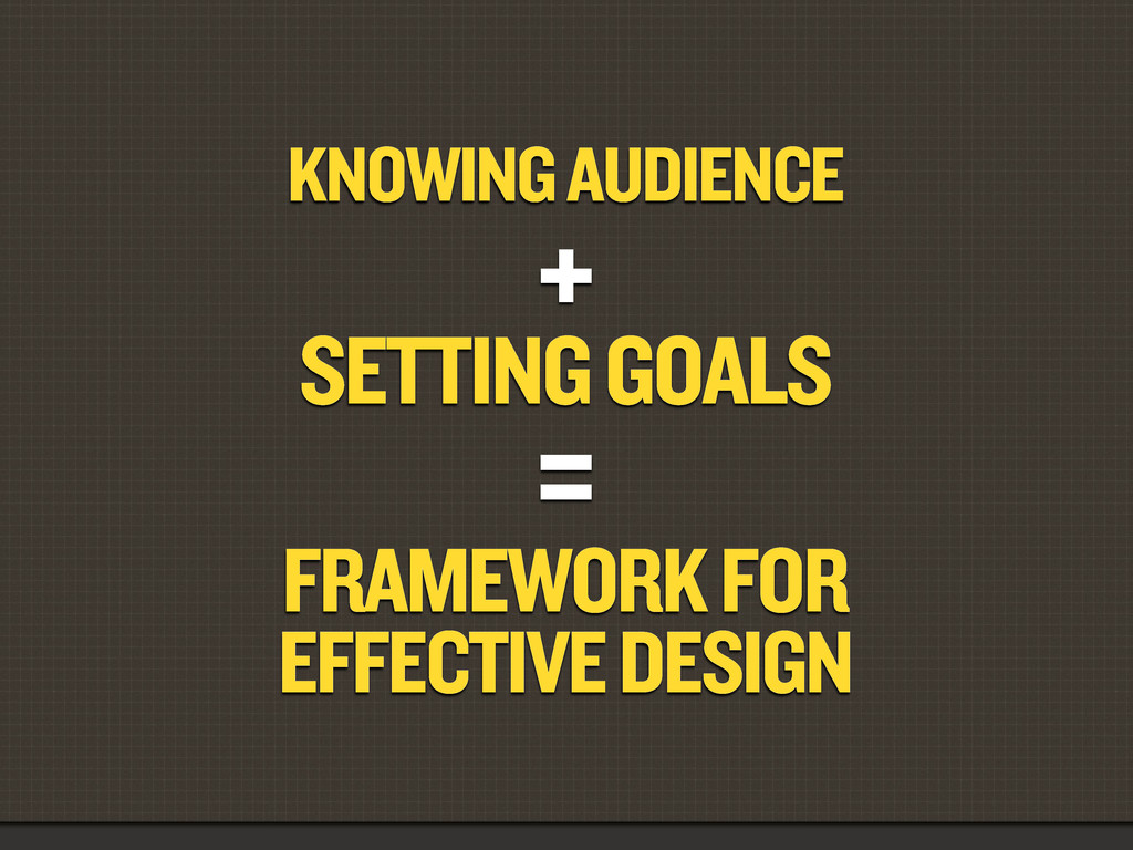 KNOWING AUDIENCE + SETTING GOALS = FRAMEWORK FO...