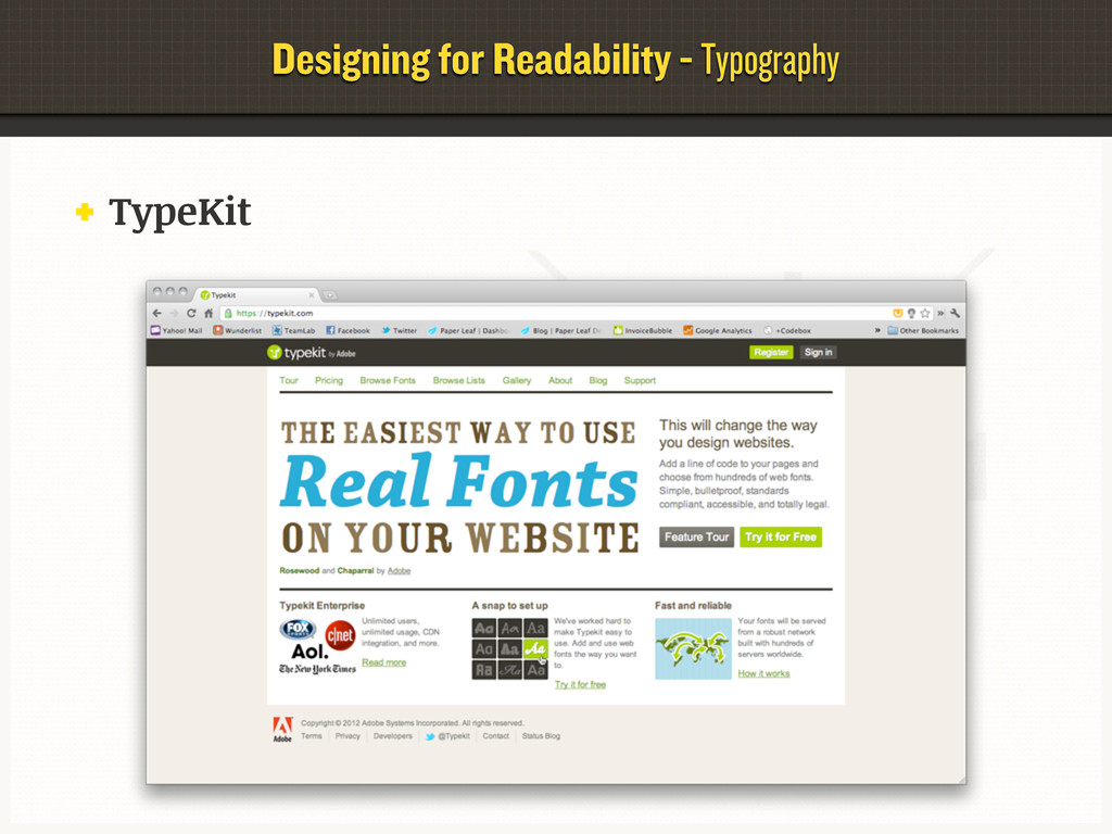 Designing for Readability - Typography TypeKit