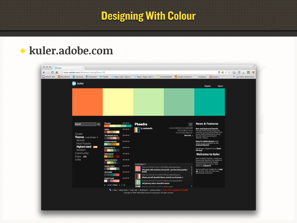 kuler.adobe.com Designing With Colour