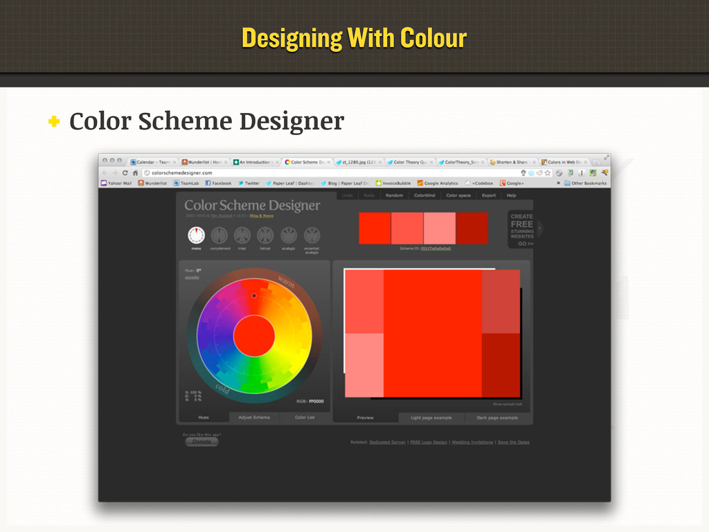 Color Scheme Designer Designing With Colour