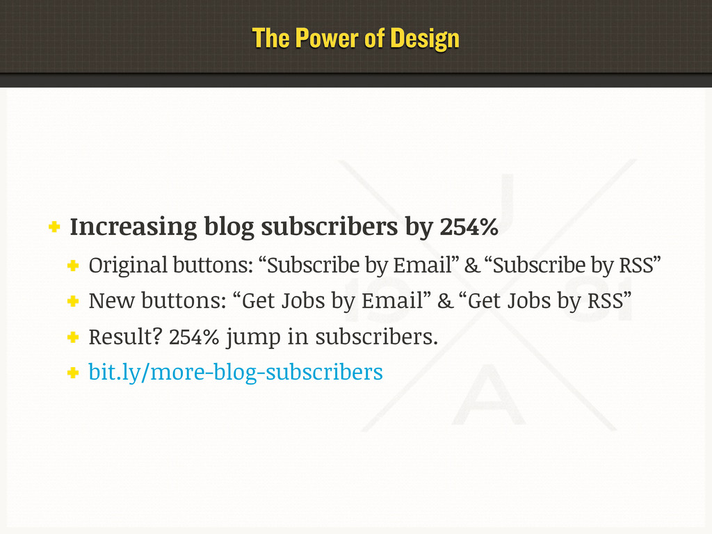 The Power of Design Increasing blog subscribers...
