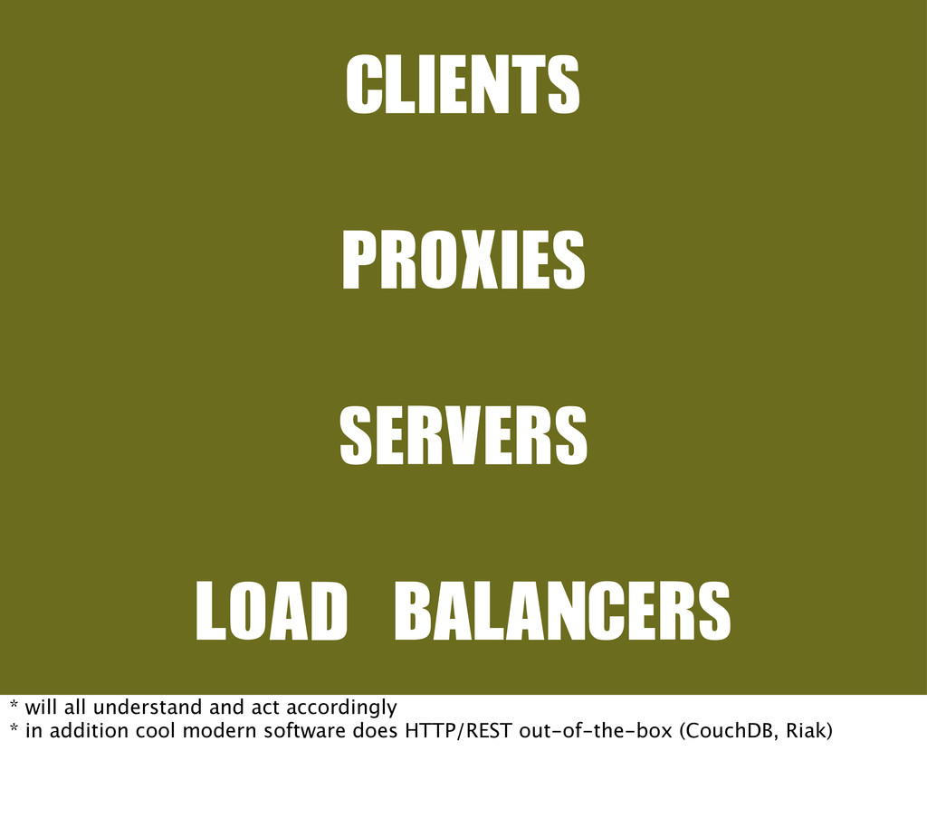 CLIENTS PROXIES SERVERS LOAD	 BALANCERS * will ...
