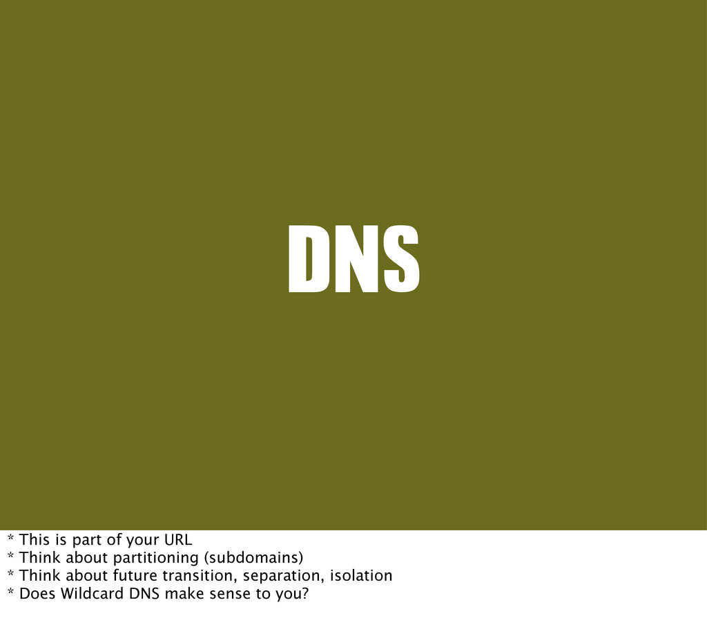 DNS * This is part of your URL * Think about pa...