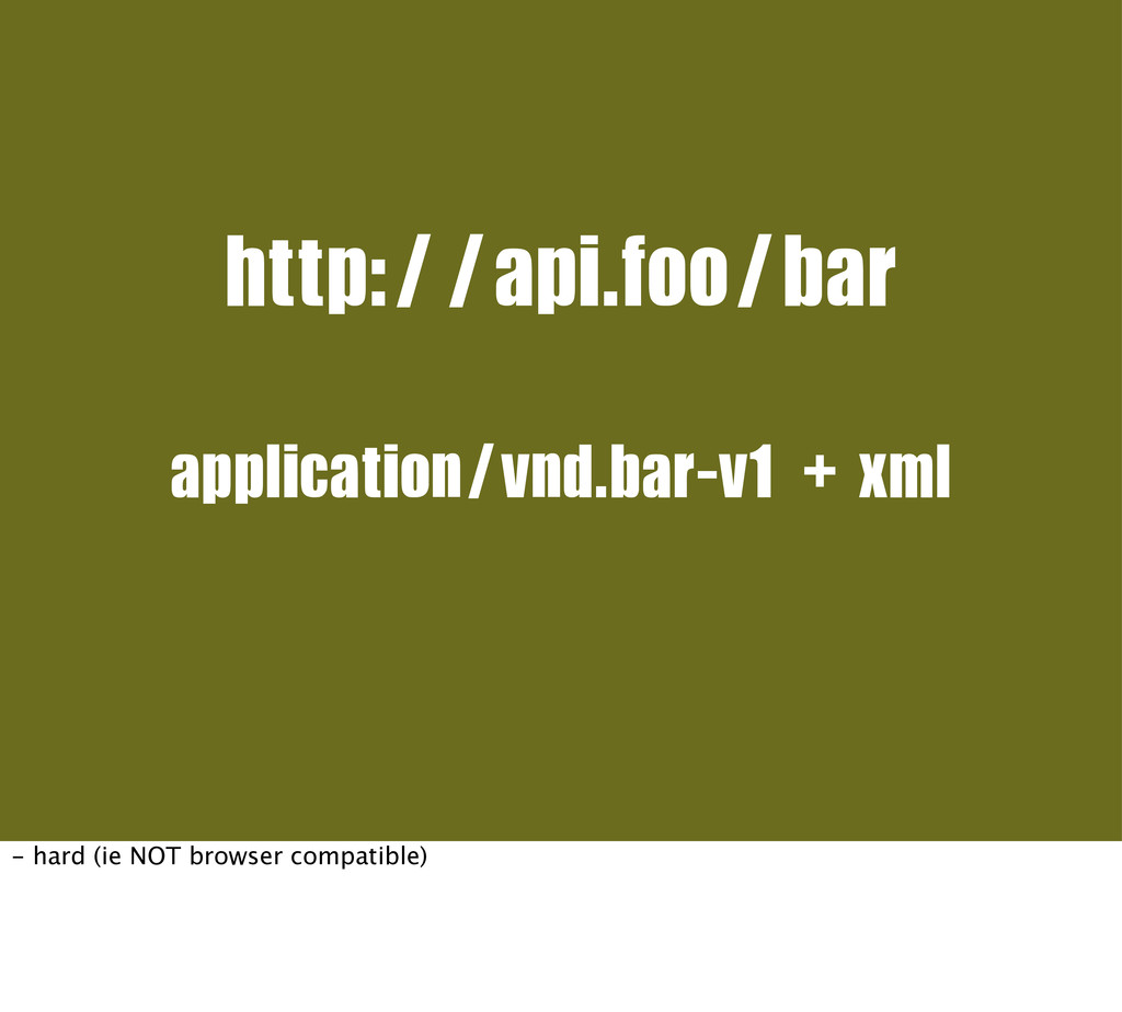 http://api.foo/bar application/vnd.bar-v1+xml -...