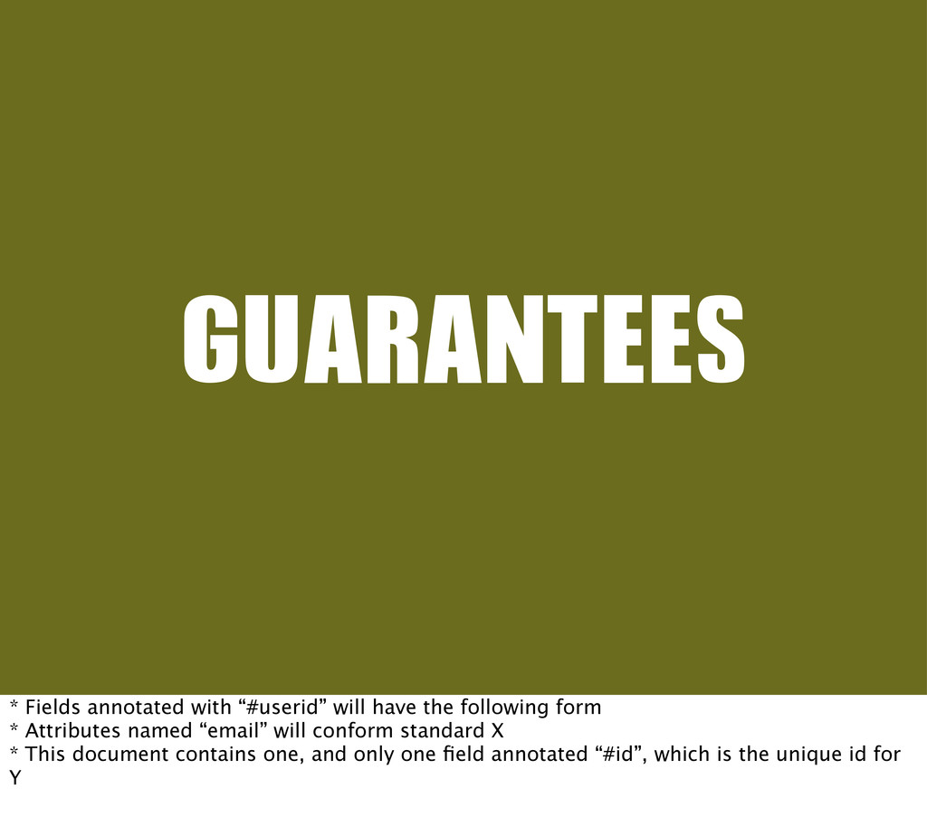 "GUARANTEES * Fields annotated with ""#userid"" wi..."