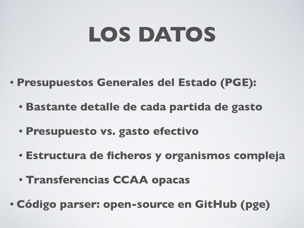 LOS DATOS • Presupuestos Generales del Estado (...