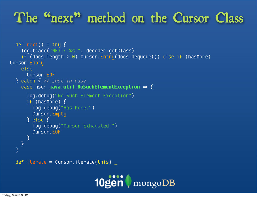 "The ""next"" method on the Cursor Class def next(..."