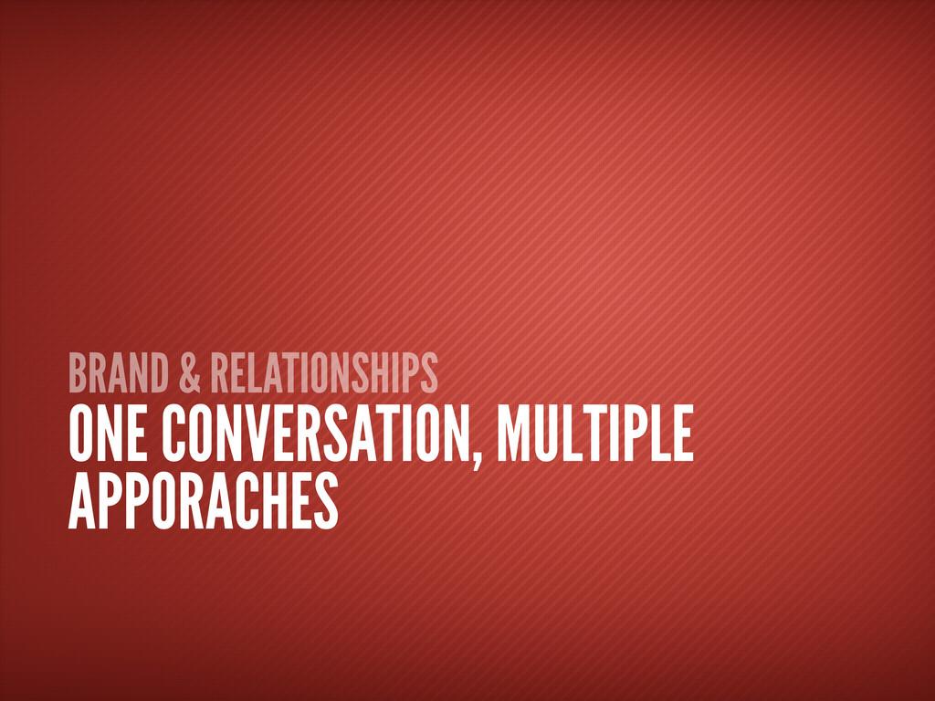 BRAND & RELATIONSHIPS ONE CONVERSATION, MULTIPL...