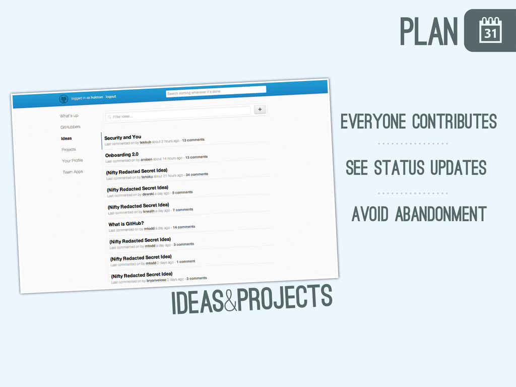 \ ideas&projects everyone contributes avoid aba...