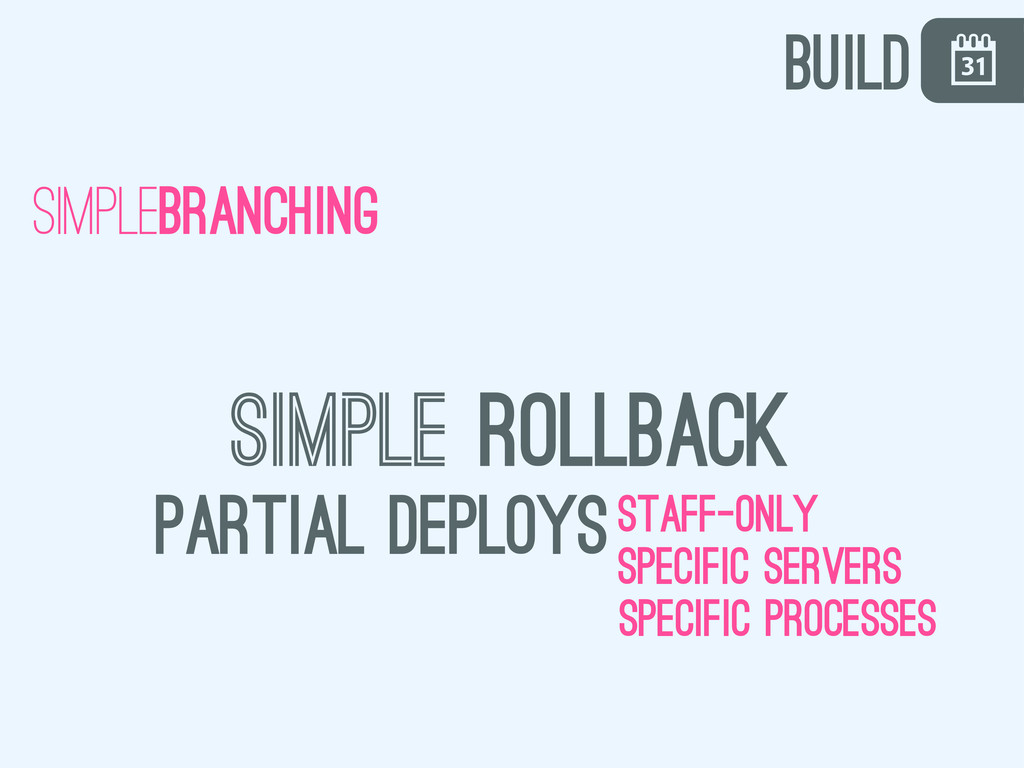 \ simplebranching simple rollback partial deplo...
