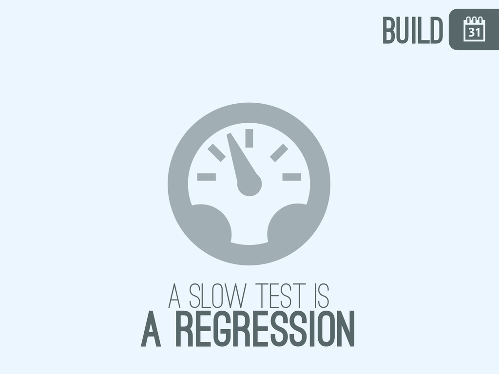 \ , a slow test is a regression build