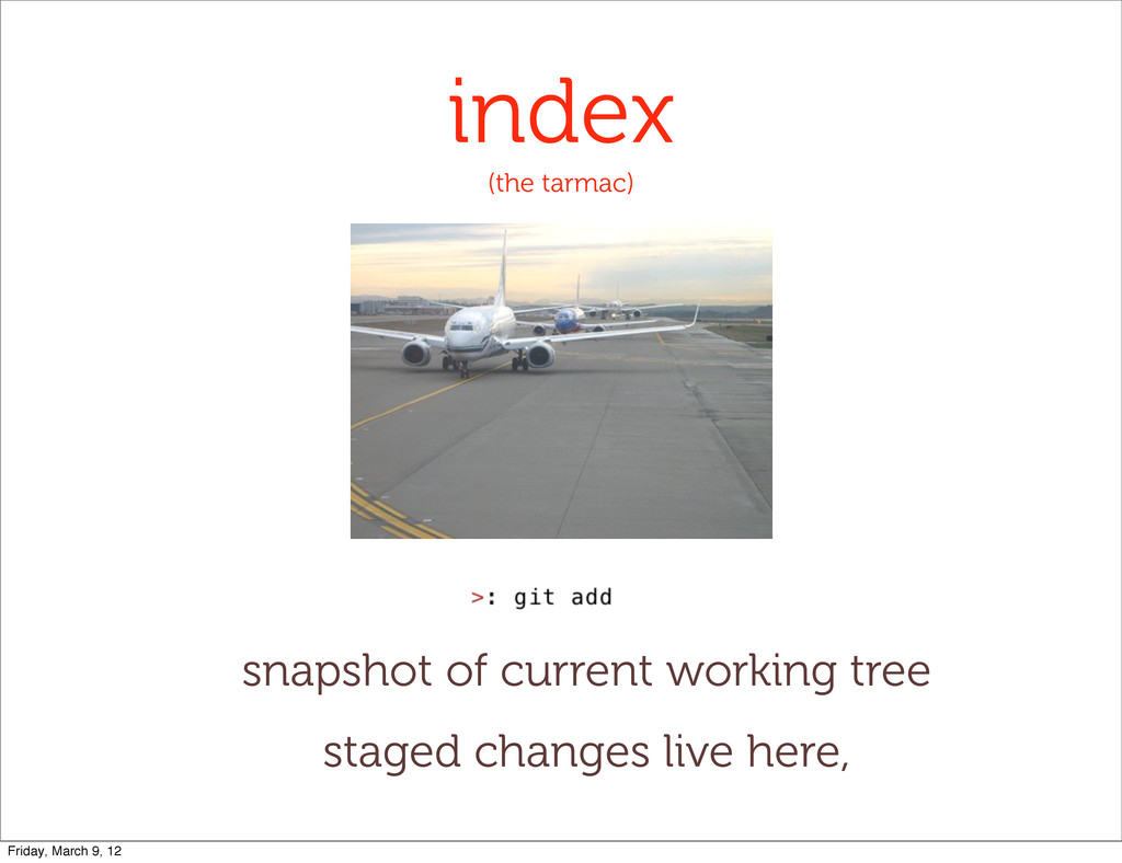 index (the tarmac) snapshot of current working ...