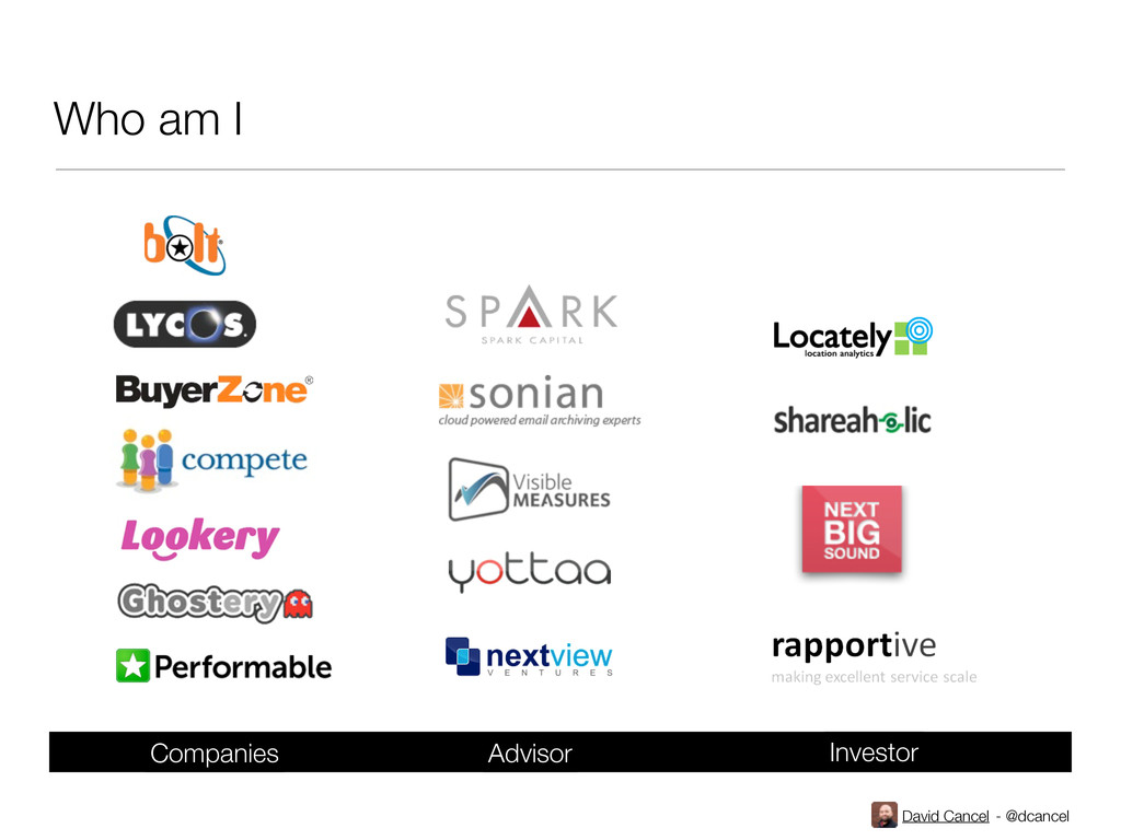 David Cancel - @dcancel Who am I Companies Advi...