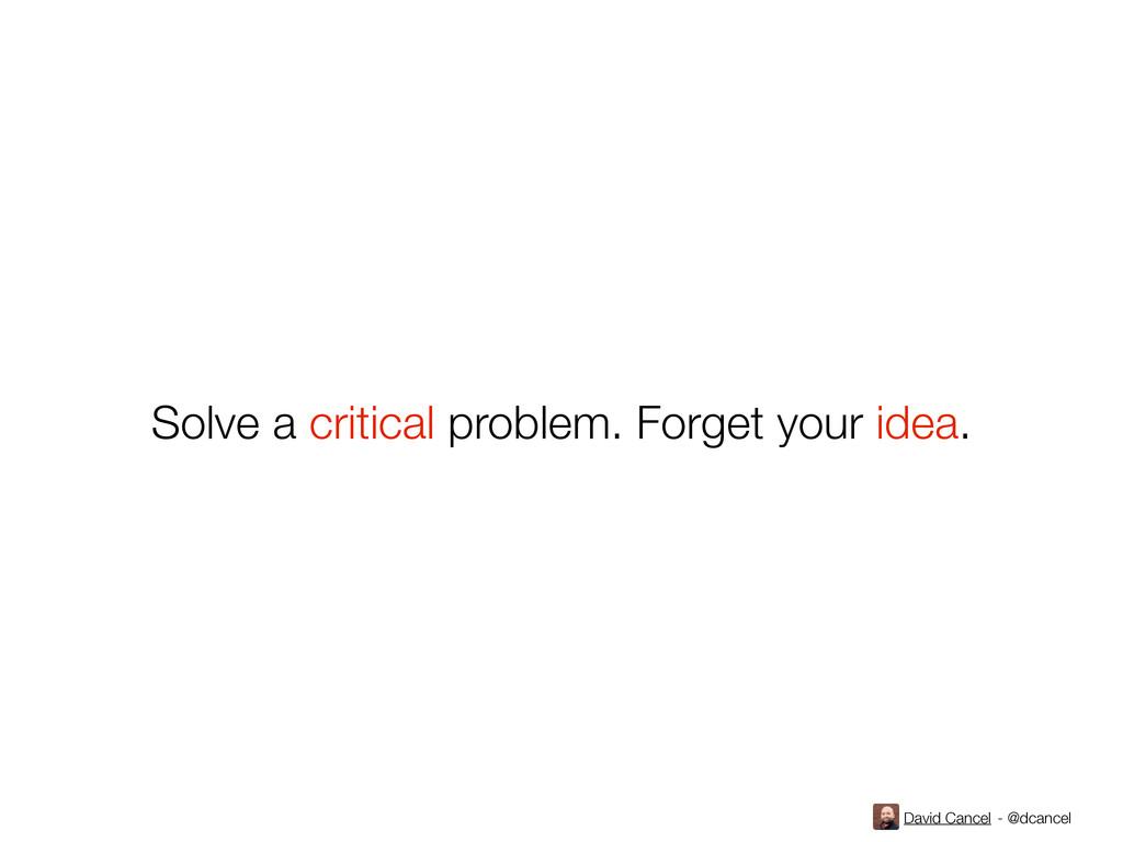 David Cancel - @dcancel Solve a critical proble...