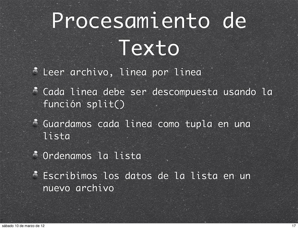 Procesamiento de Texto Leer archivo, linea por ...