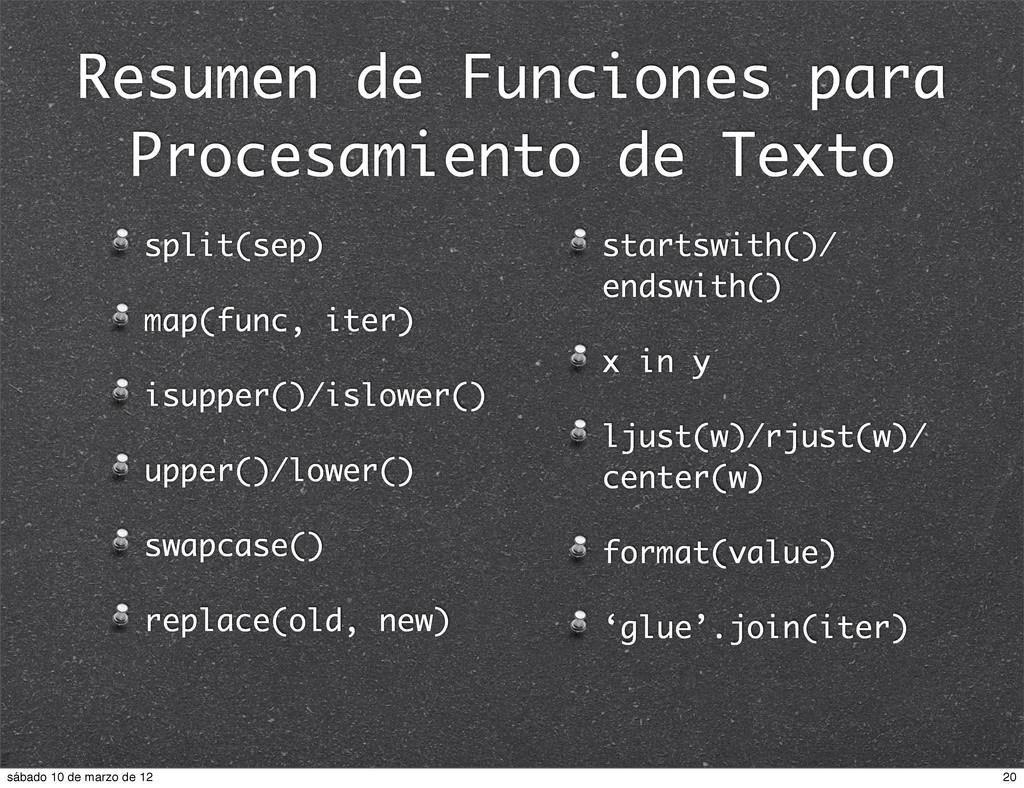 Resumen de Funciones para Procesamiento de Text...