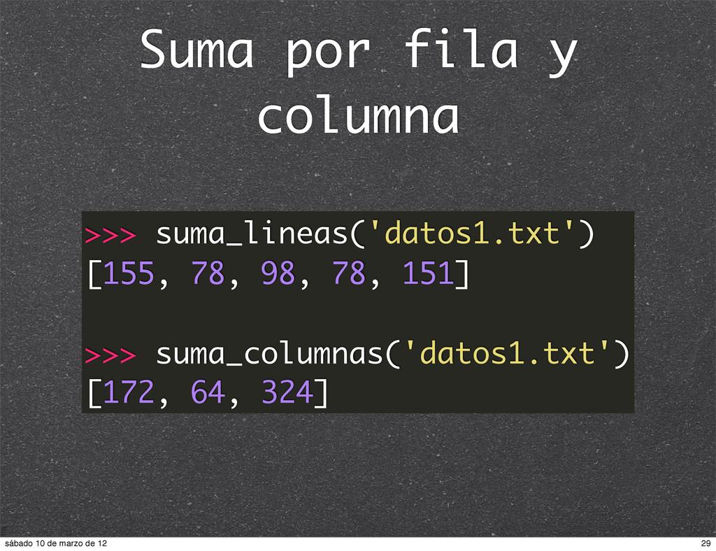Suma por fila y columna >>> suma_lineas('datos1...