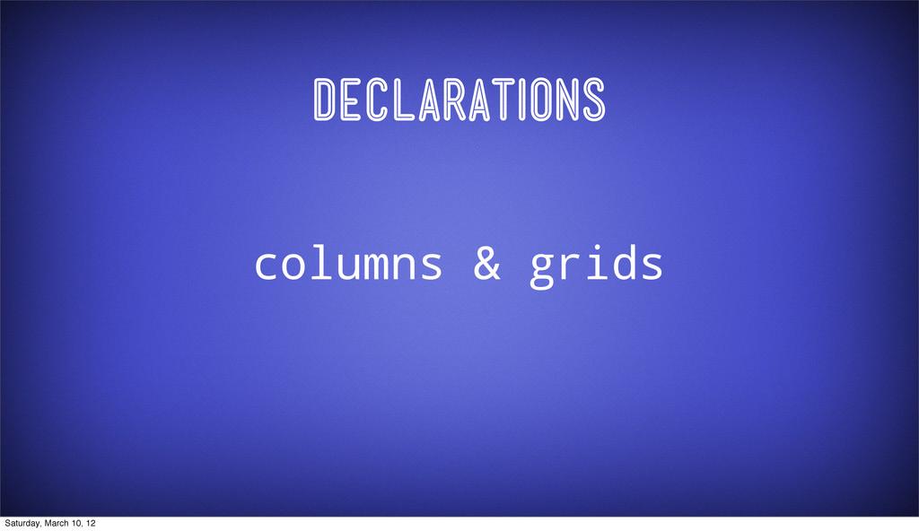 Declarations columns & grids Saturday, March 10...