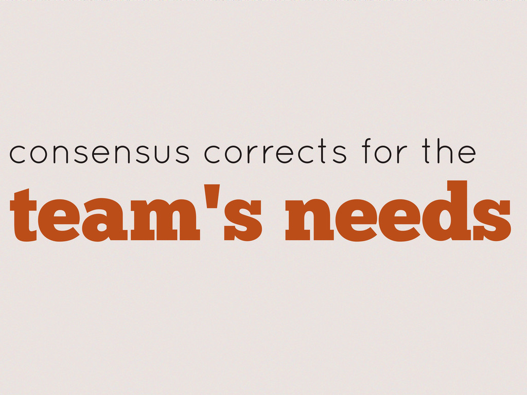 consensus corrects for the team's needs