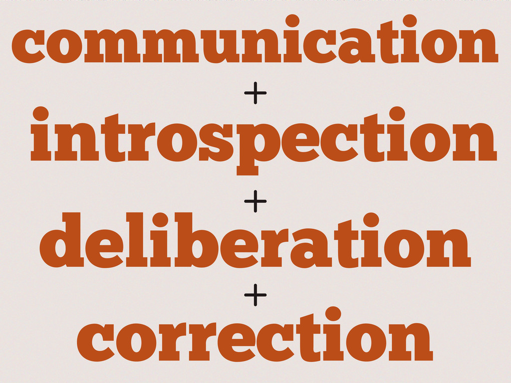 deliberation + communication introspection + + ...