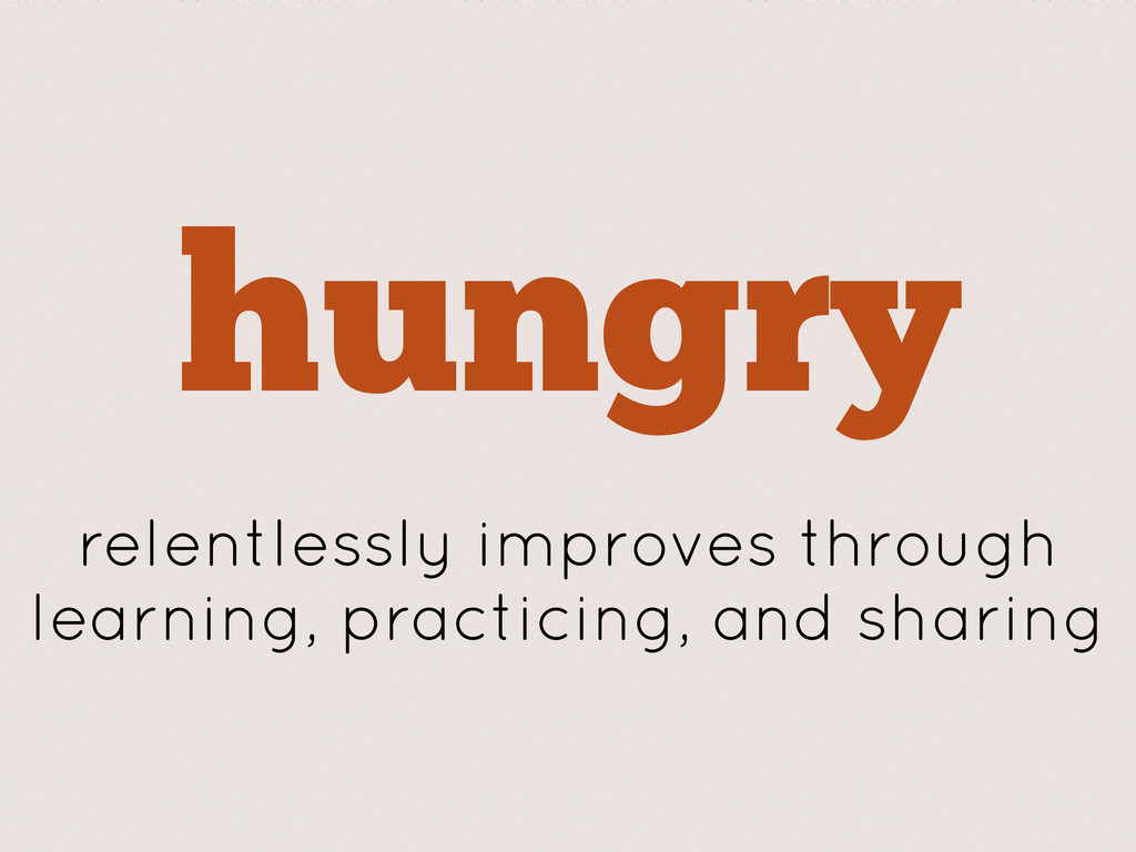 hungry relentlessly improves through learning, ...
