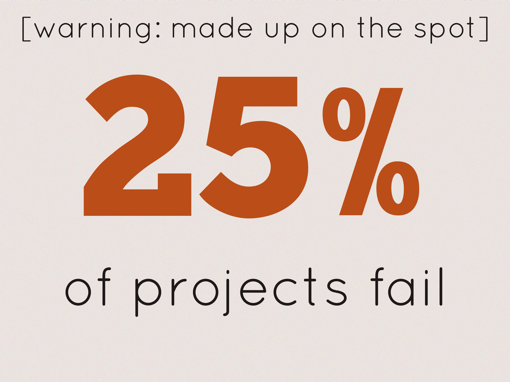of projects fail [warning: made up on the spot]...