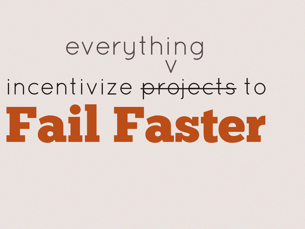 incentivize projects to Fail Faster everything v