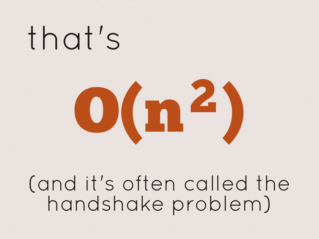 that's O(n2) 2 (and it's often called the hands...