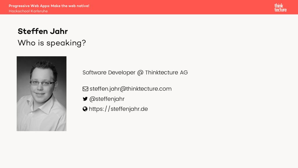 Hackschool Karlsruhe Progressive Web Apps: Make...