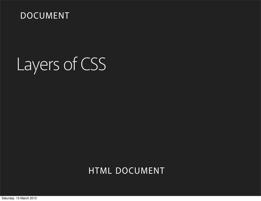 Layers of CSS HTML DOCUMENT DOCUMENT Saturday, ...