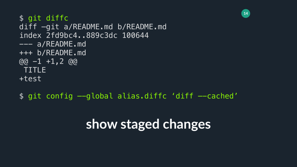 14 show staged changes $ git diffc diff —git a/...