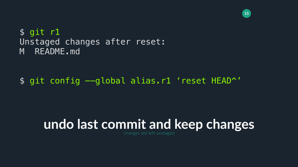 15 undo last commit and keep changes $ git r1 U...