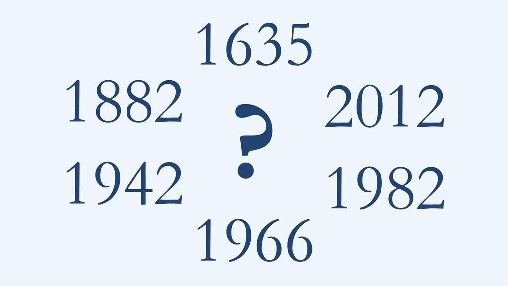 1882 1942 1982 2012 1966 1635 ?