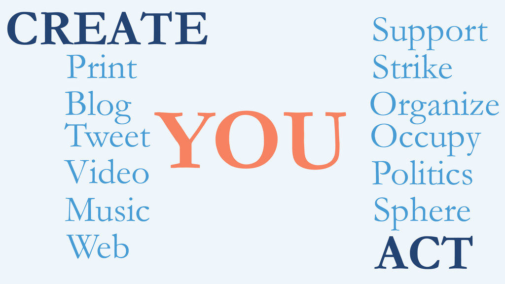 CREATE YOU Print Blog ACT Tweet Video Music Web...