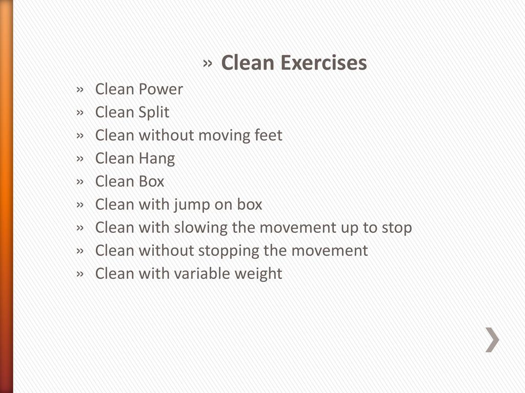 » Clean Exercises » Clean Power » Clean Split »...
