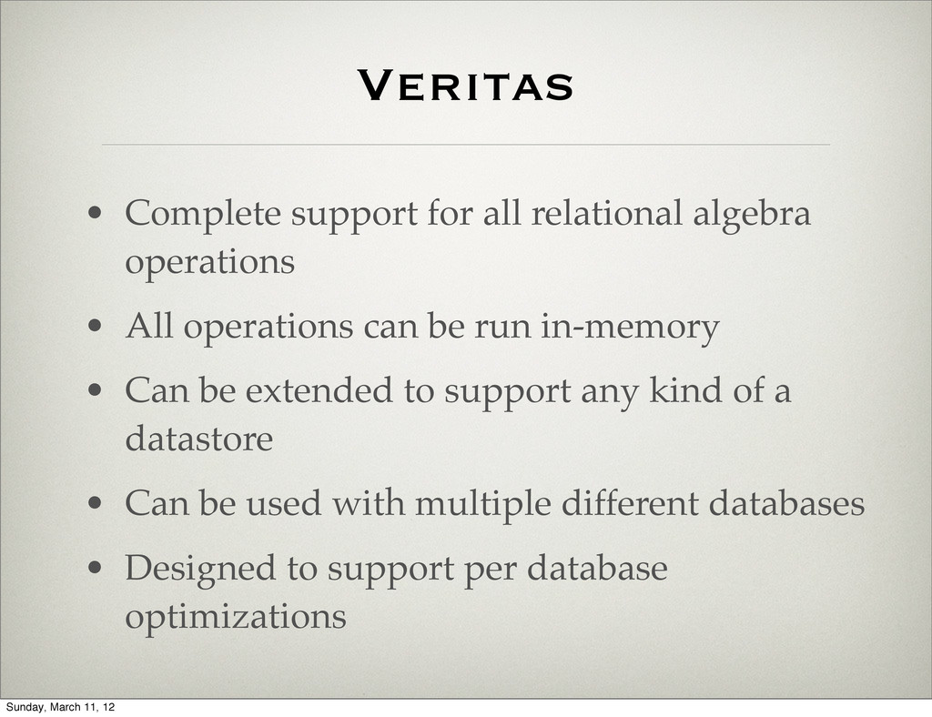 • Complete support for all relational algebra o...