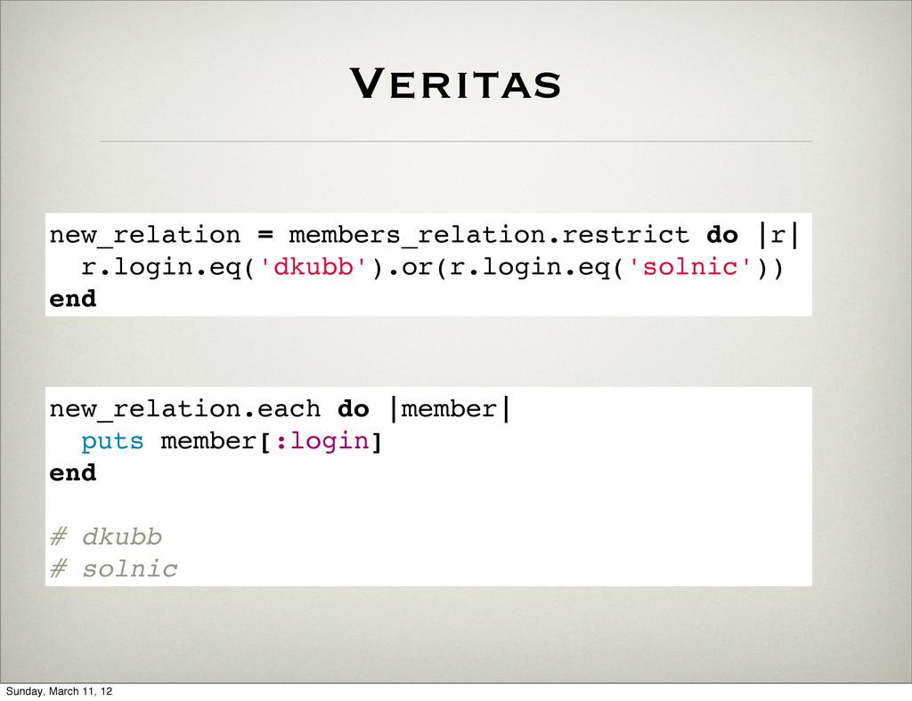 Veritas new_relation = members_relation.restric...