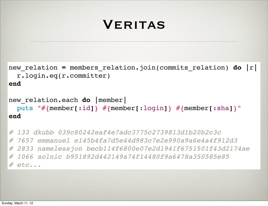 Veritas new_relation = members_relation.join(co...