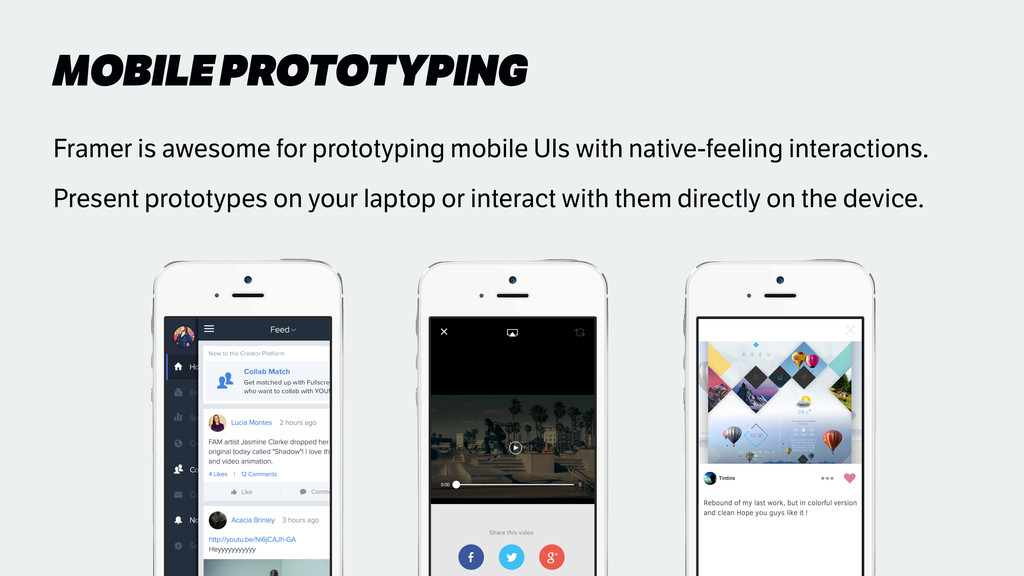 MOBILE PROTOTYPING Framer is awesome for protot...
