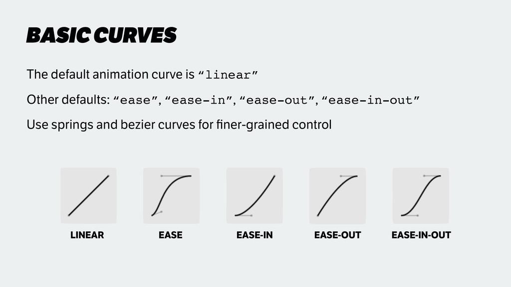 "BASIC CURVES The default animation curve is ""li..."