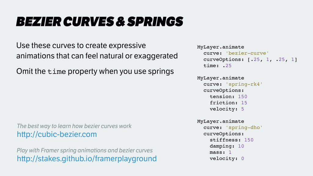 BEZIER CURVES & SPRINGS Use these curves to cre...