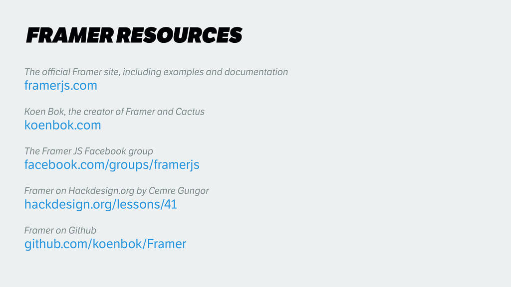 FRAMER RESOURCES The official Framer site, includ...