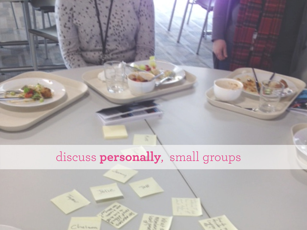 discuss personally, small groups