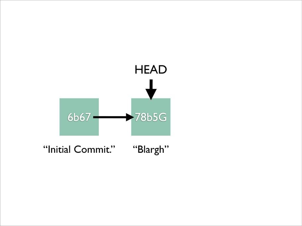 "6b67 78b5G HEAD ""Initial Commit."" ""Blargh"""